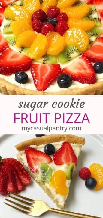 close up of fruit pizza and slice of pizza on a plate