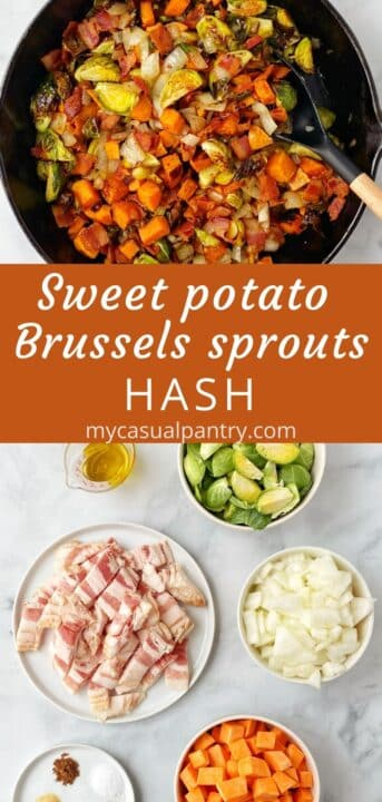 skillet of hash and ingredients - Brussels, sweet potatoes, bacon, onion, and spices