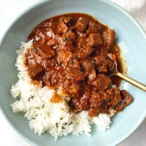 bowl of stew with rice