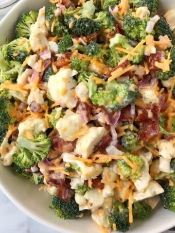 larger serving bowl of salad