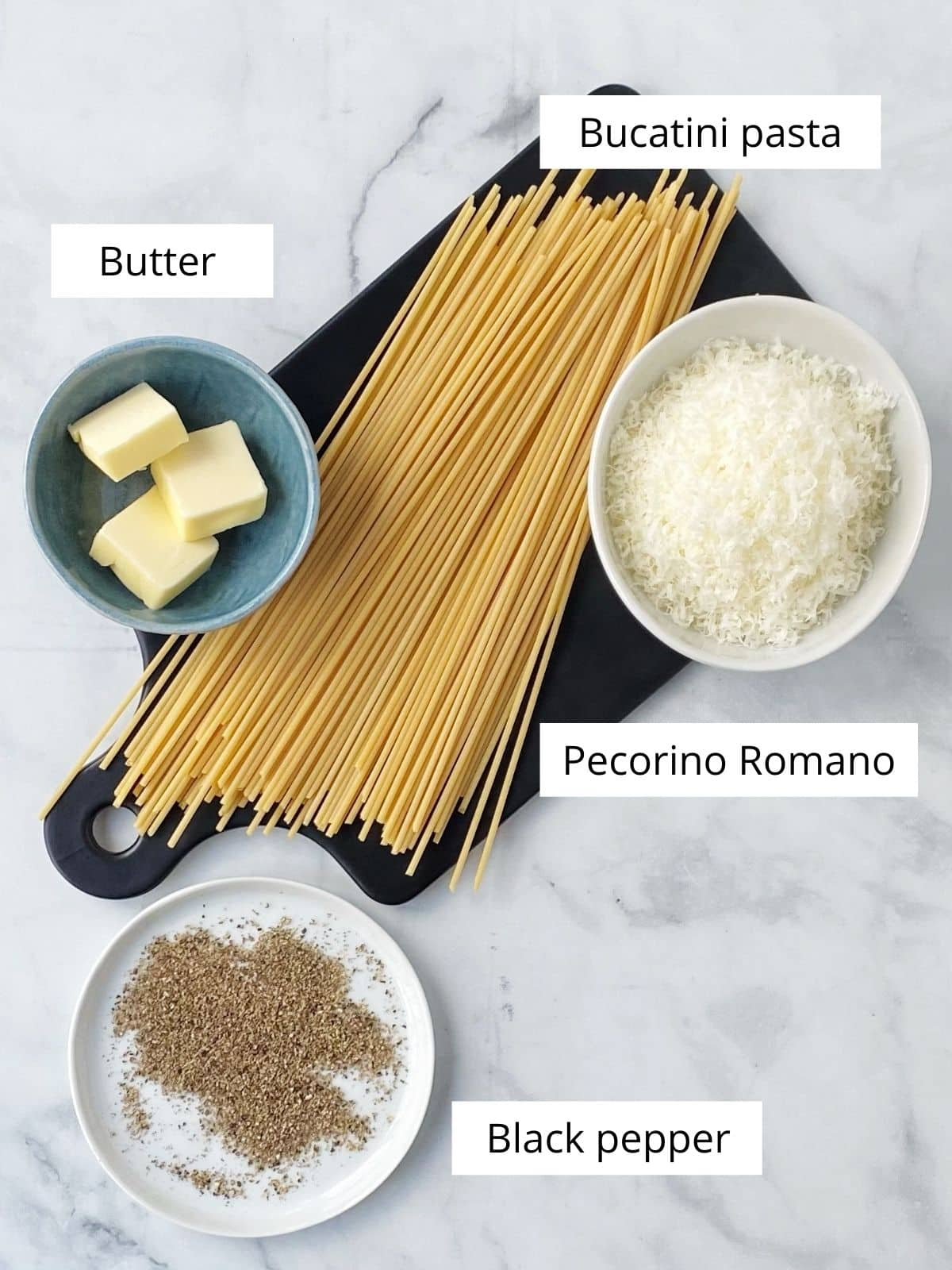 ingredients - pasta, black pepper, cheese, butter