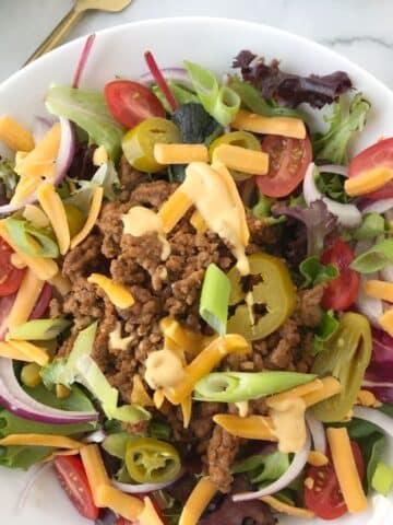 close up of bowl of salad