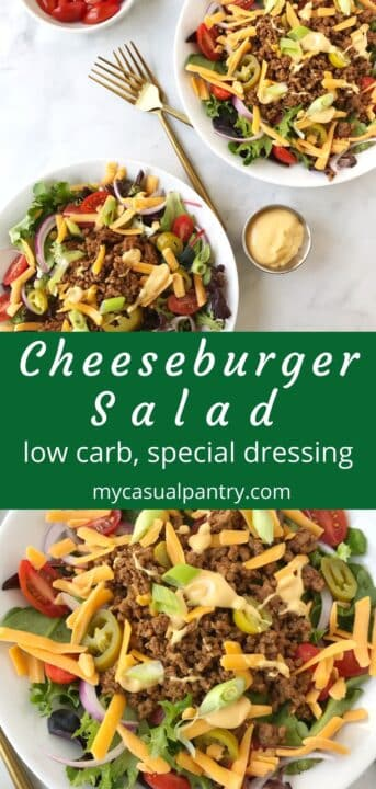 two bowls of burger salad with fixings