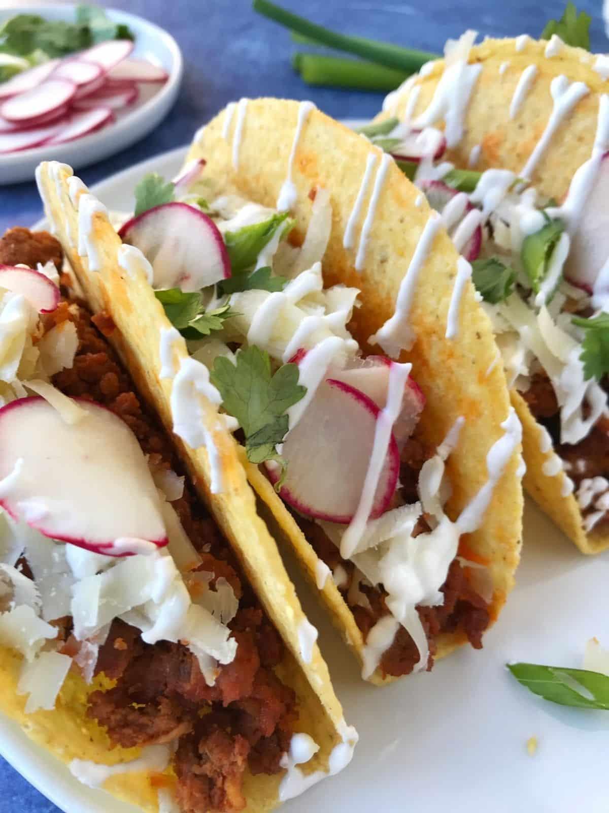 side view of chorizo tacos