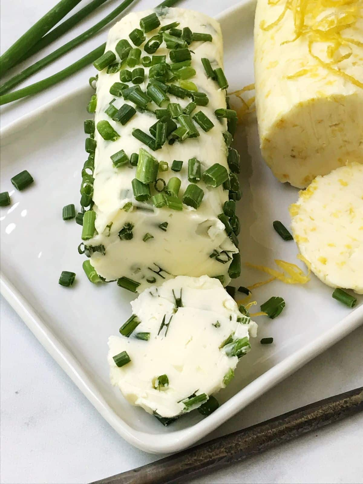 close up of chive butter