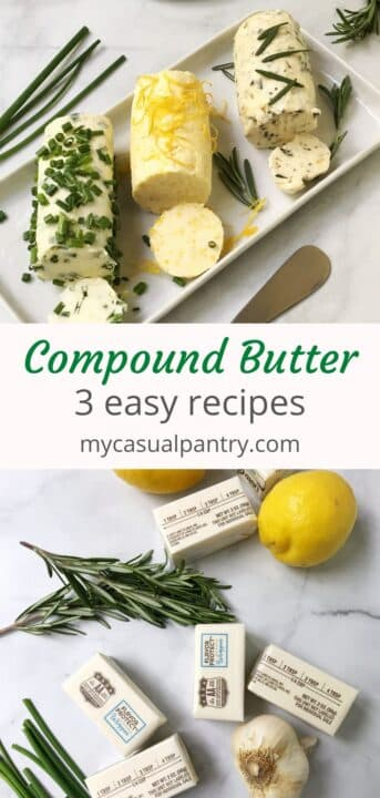 flavored butter on a platter and ingredients - butter, lemon, rosemary, garlic, chives