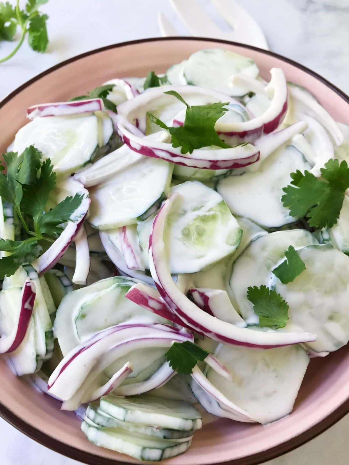 close up of bowl of cucumber onion salad