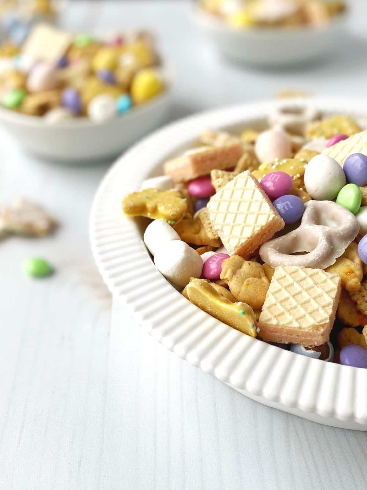 side view of dish of snack mix