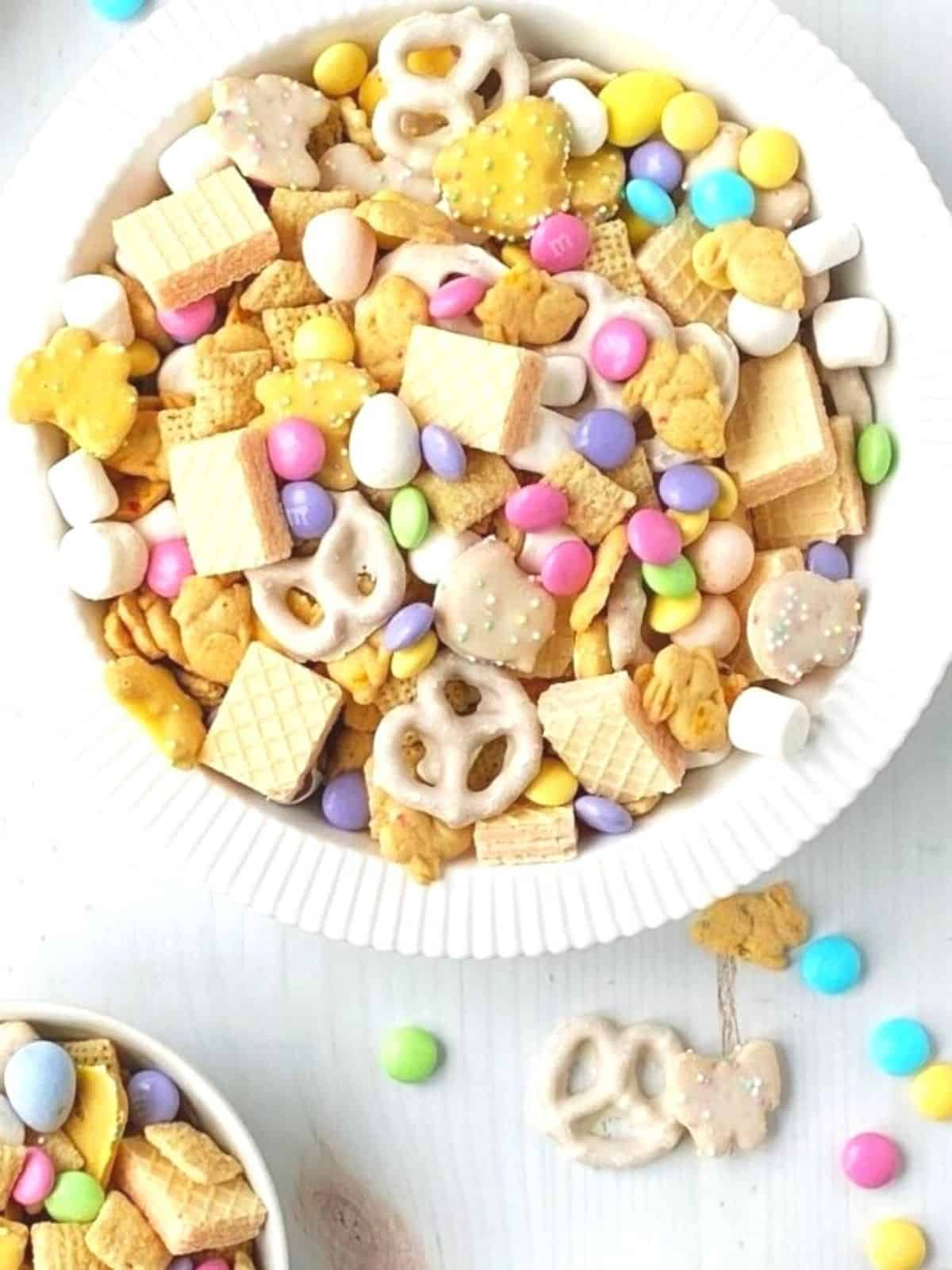 close up of large dish of snack mix