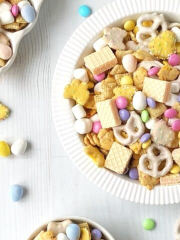 assorted dishes with snack mix