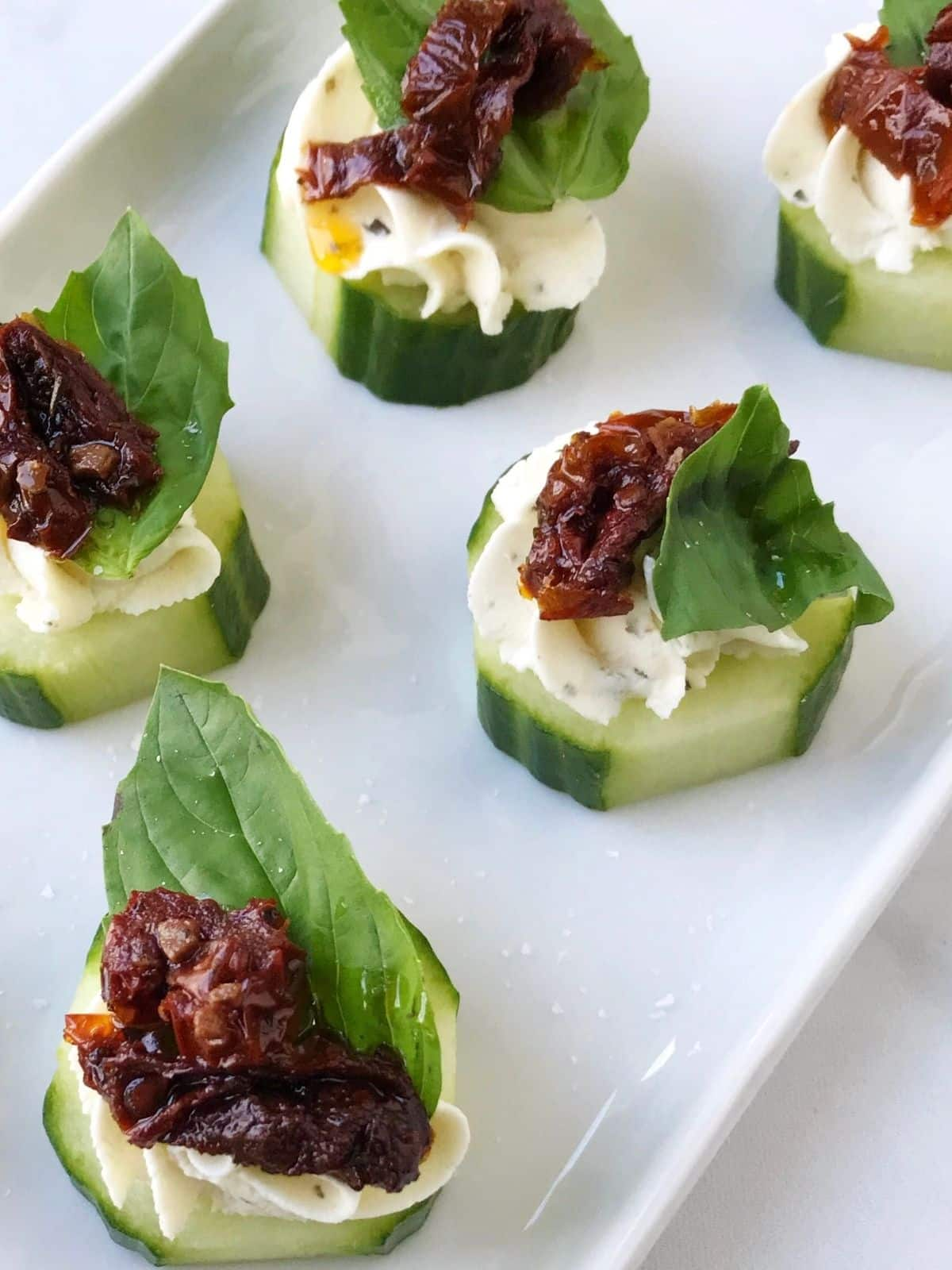 close up of canapes on a plate