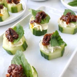 white plate with canapes