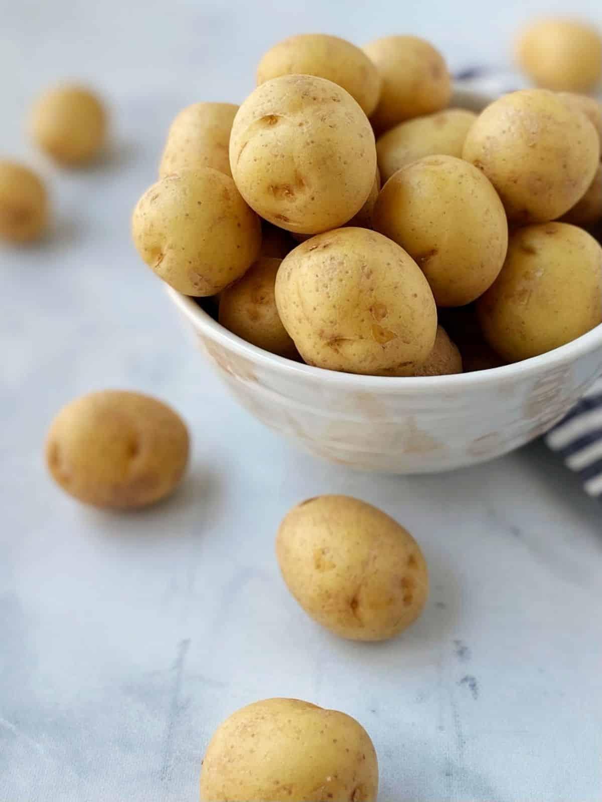 bowl of baby potatoes before roasting