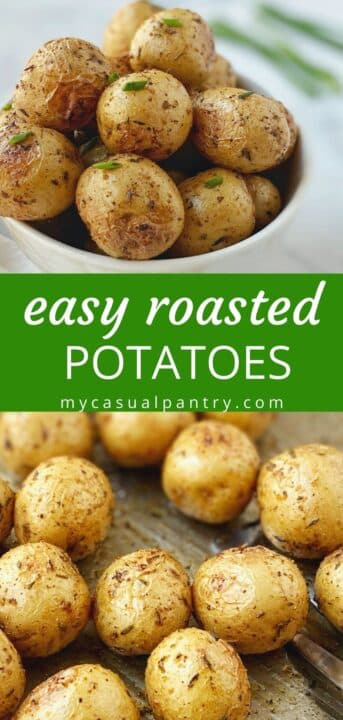 bowl of roasted potatoes and a close up of potatoes on the sheet pan