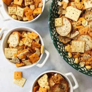 small and large bowls of snack mix