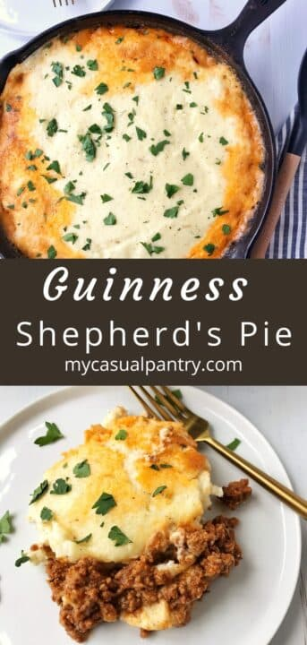 skillet of shepherds pie and a large serving on a plate