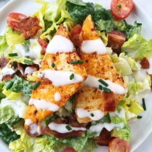 close up of halloumi on top of salad