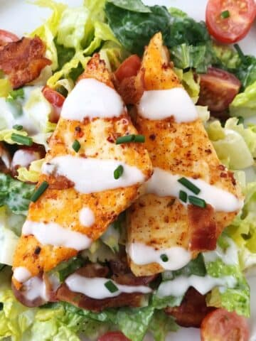 close up of halloumi on top of salad