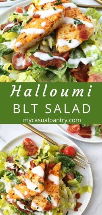 two plates of BLT salad with halloumi on top