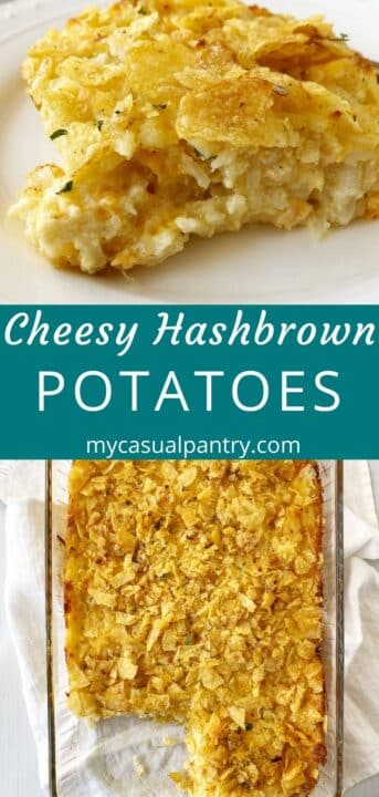 serving of casserole on a plate and the casserole dish of cheesy hashbrowns
