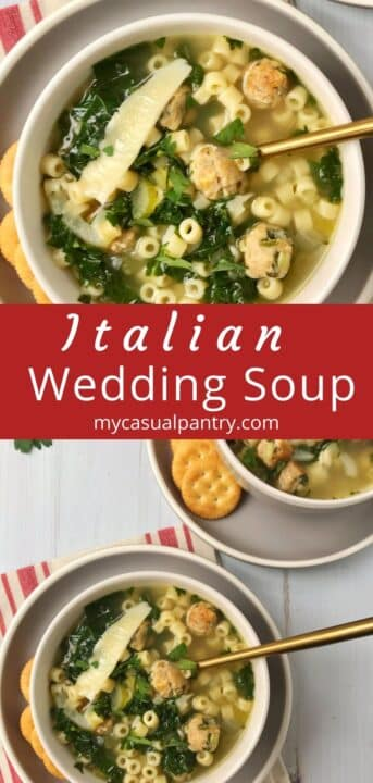 bowls of soup with crackers on the side
