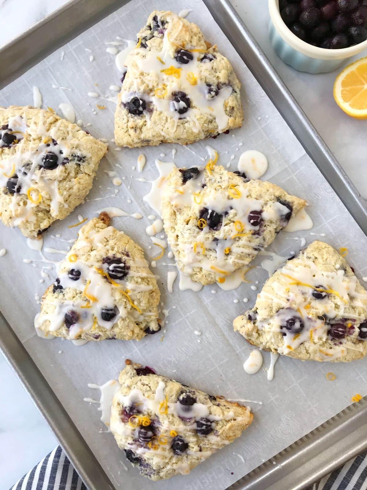 glazed scones on a sheet pan