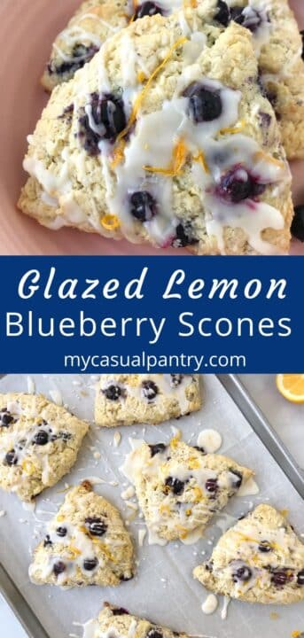 sheet pan of glazed scones and close up of two scones