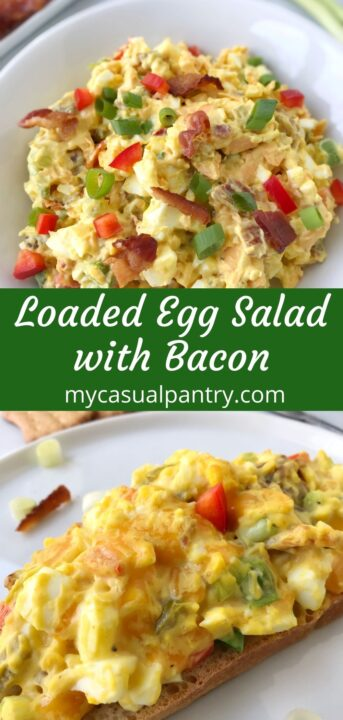 bowl of egg salad and toast topped with egg salad