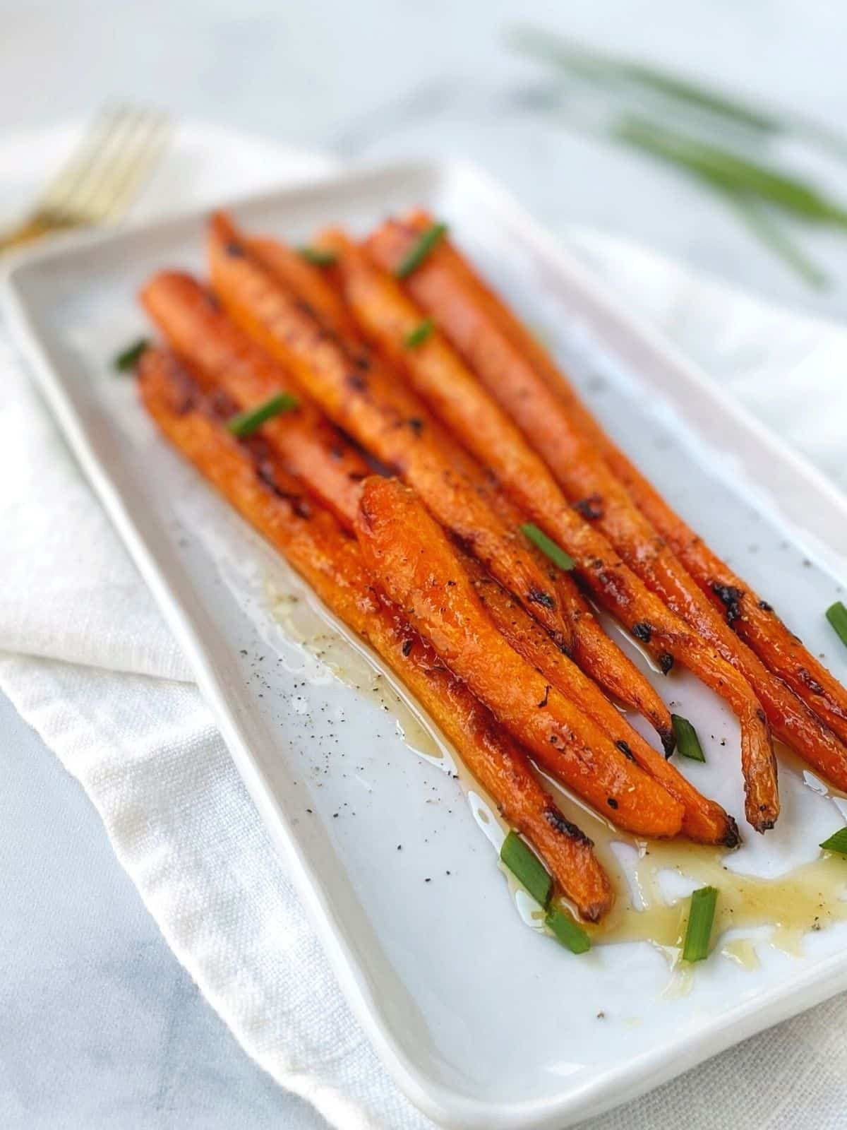 side view of roasted carrots