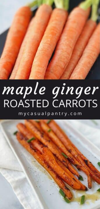 raw carrots (top) and roasted carrots on a serving platter
