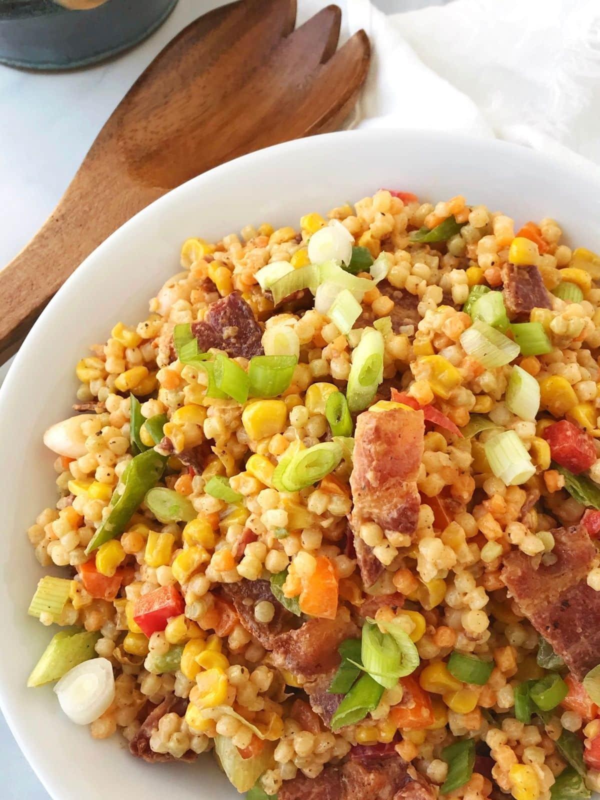 serving bowl of couscous salad
