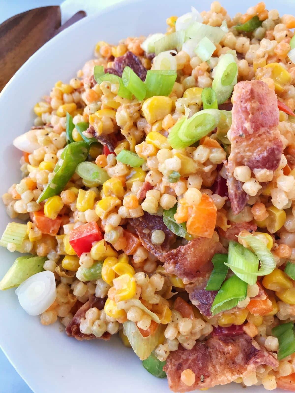 close up of couscous salad