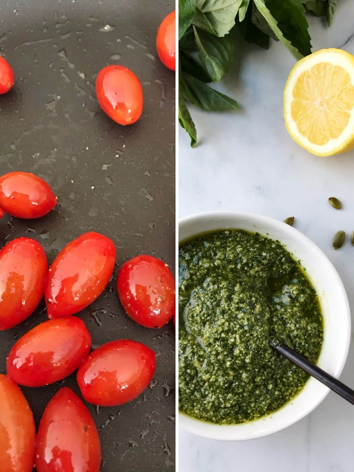 grape tomatoes in a pan and a dish of pesto