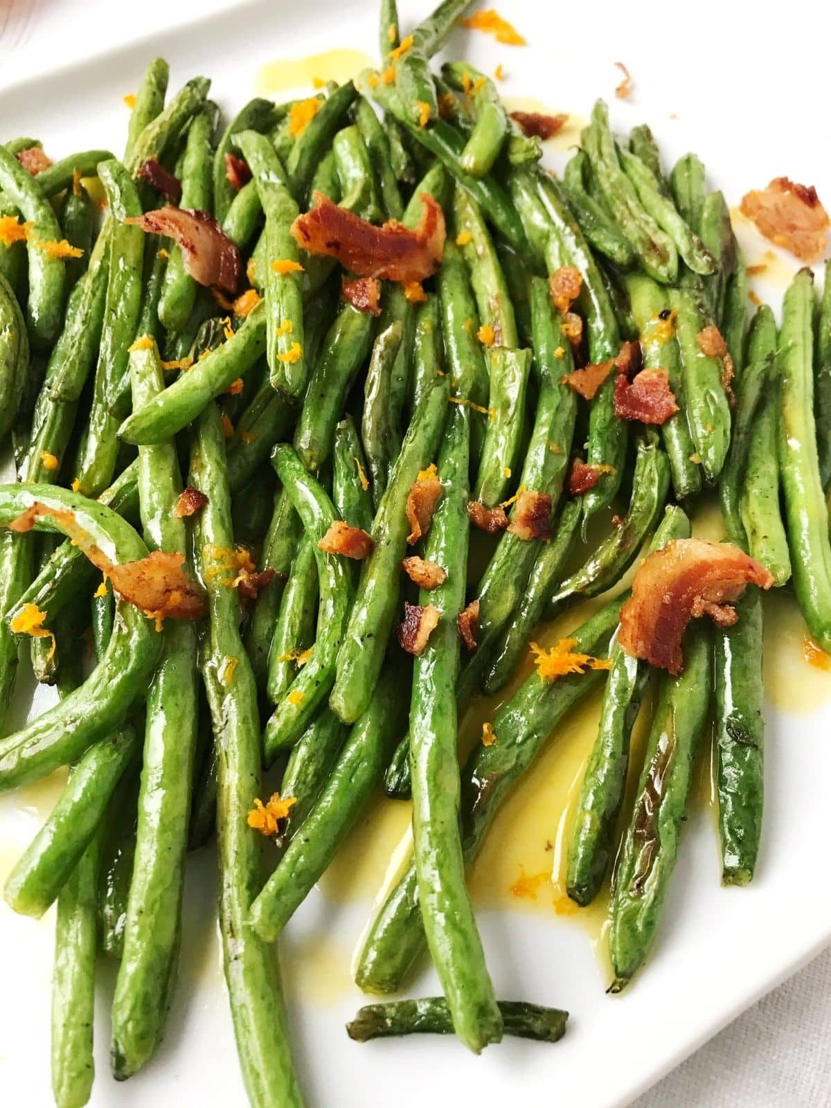 close up of roasted green beans