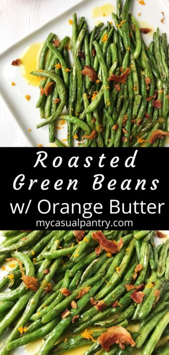 platter of beans drizzled with orange butter and topped with pancetta