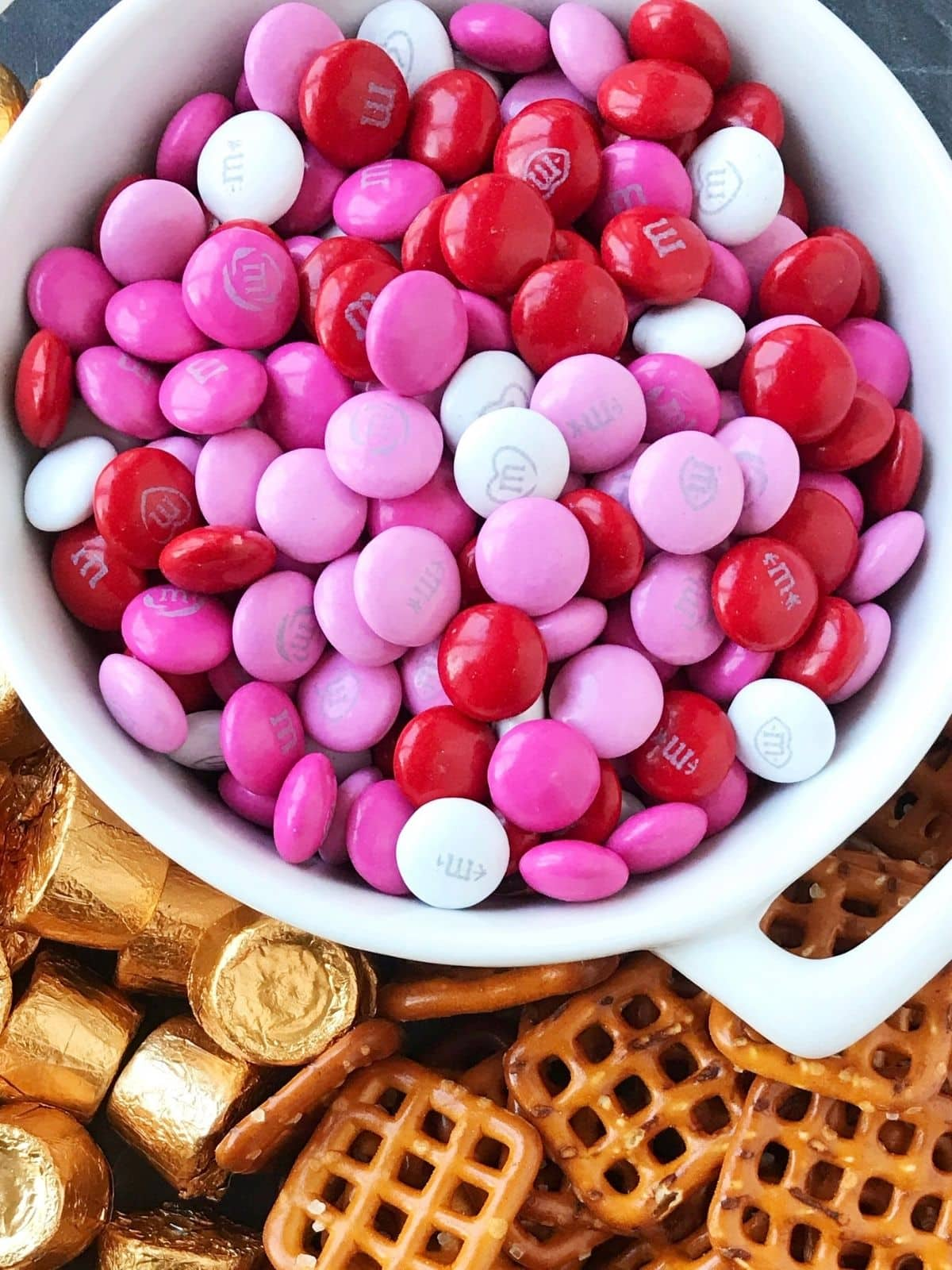 close up of M&M candies in a dish