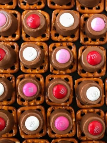 pretzel treats lined up in a grid format