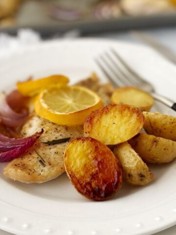 plate of chicken, potatoes, and onions