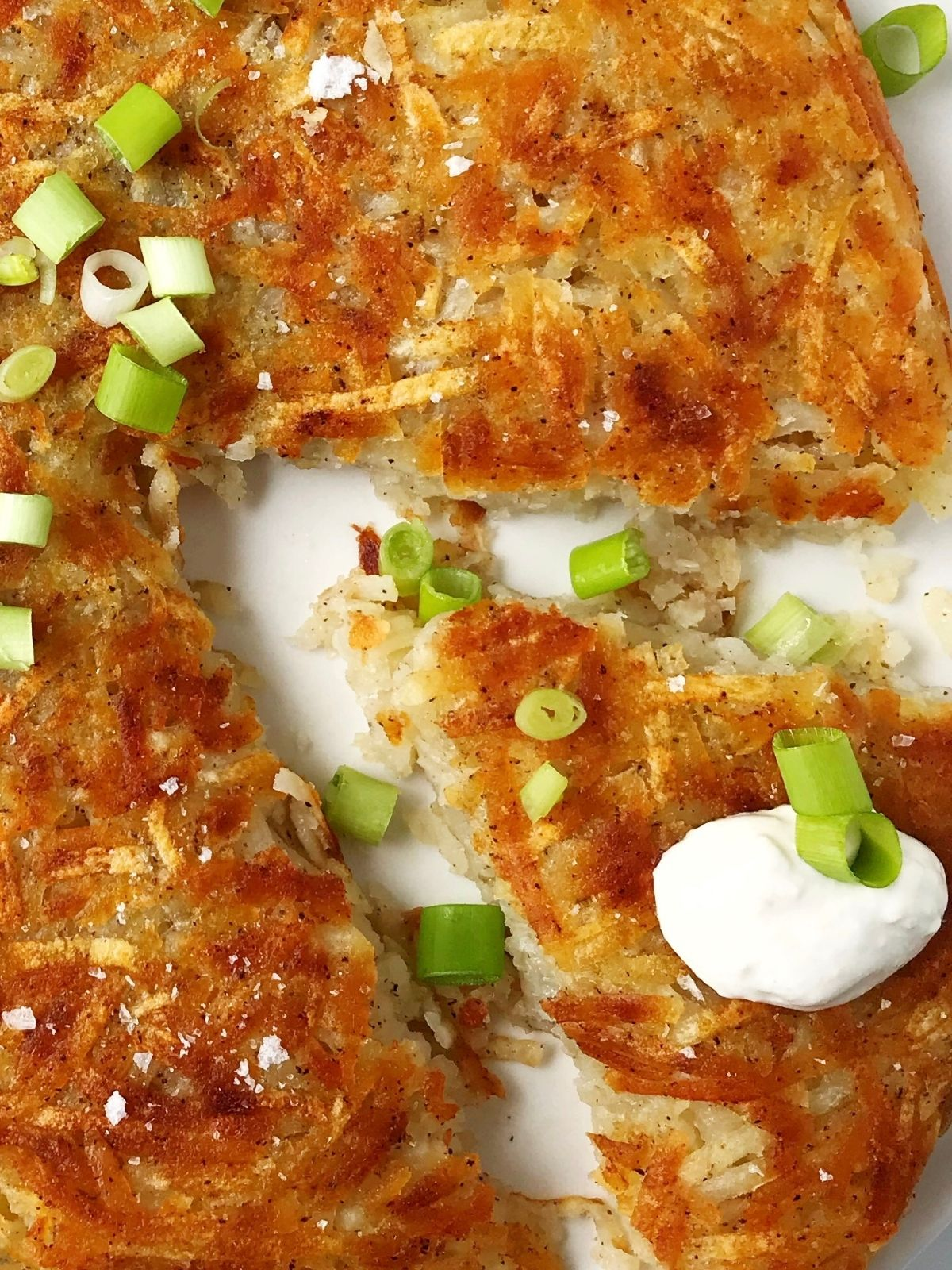 close up of a slice of hash brown