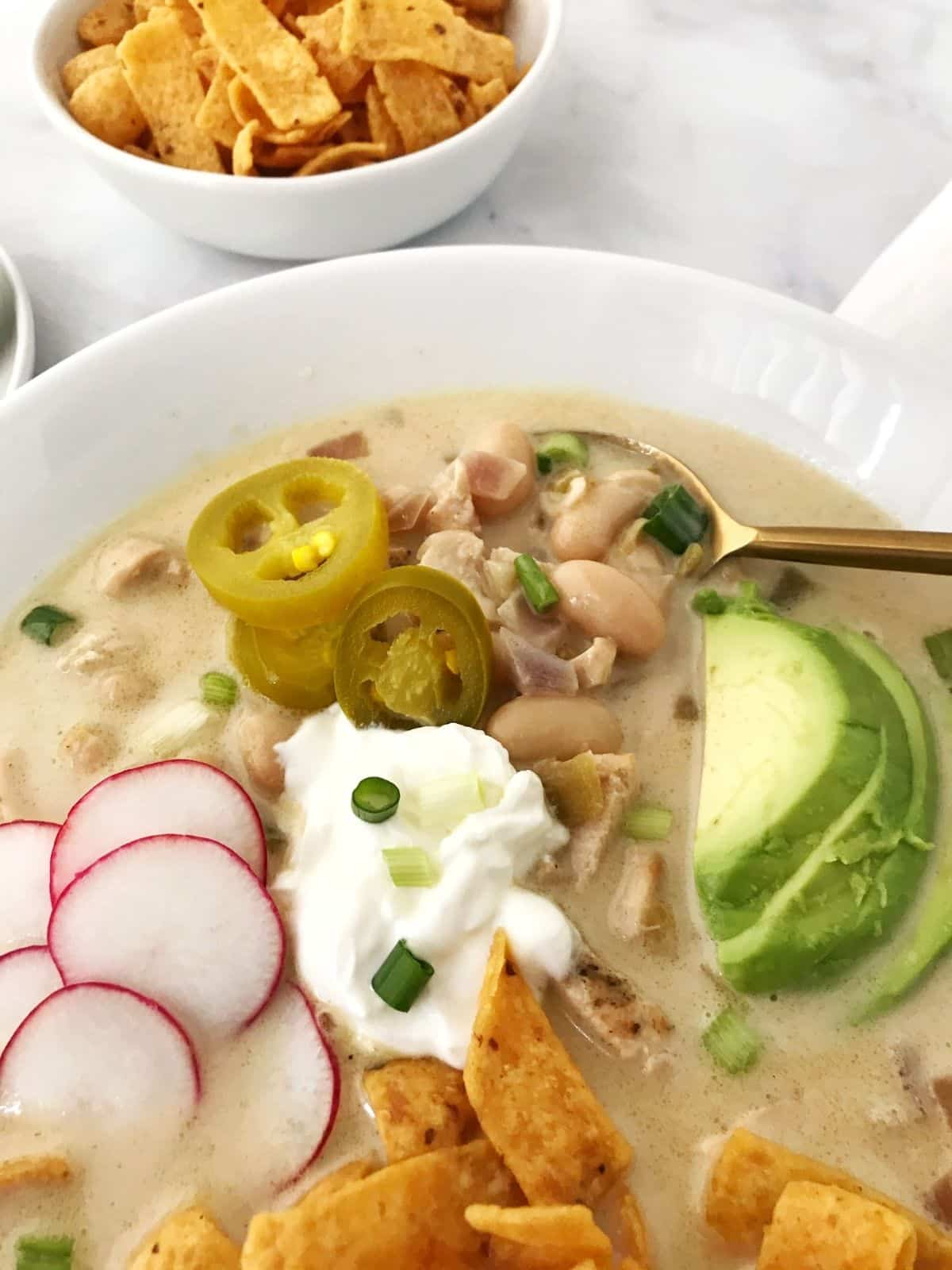 close up of bowl of chicken chili