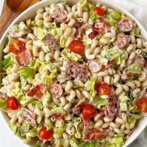 large serving bowl of pasta salad