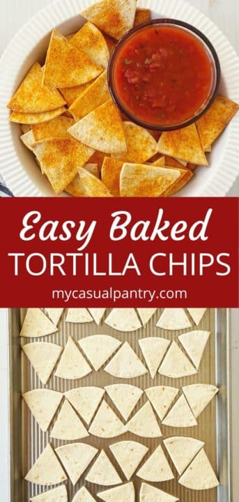 dish of tortilla chips and salsa, tortilla wedges arranged on a sheet pan