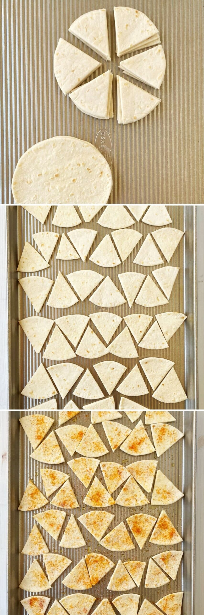 tortillas cut into wedges, arranged on a baking sheet, and sprinkled