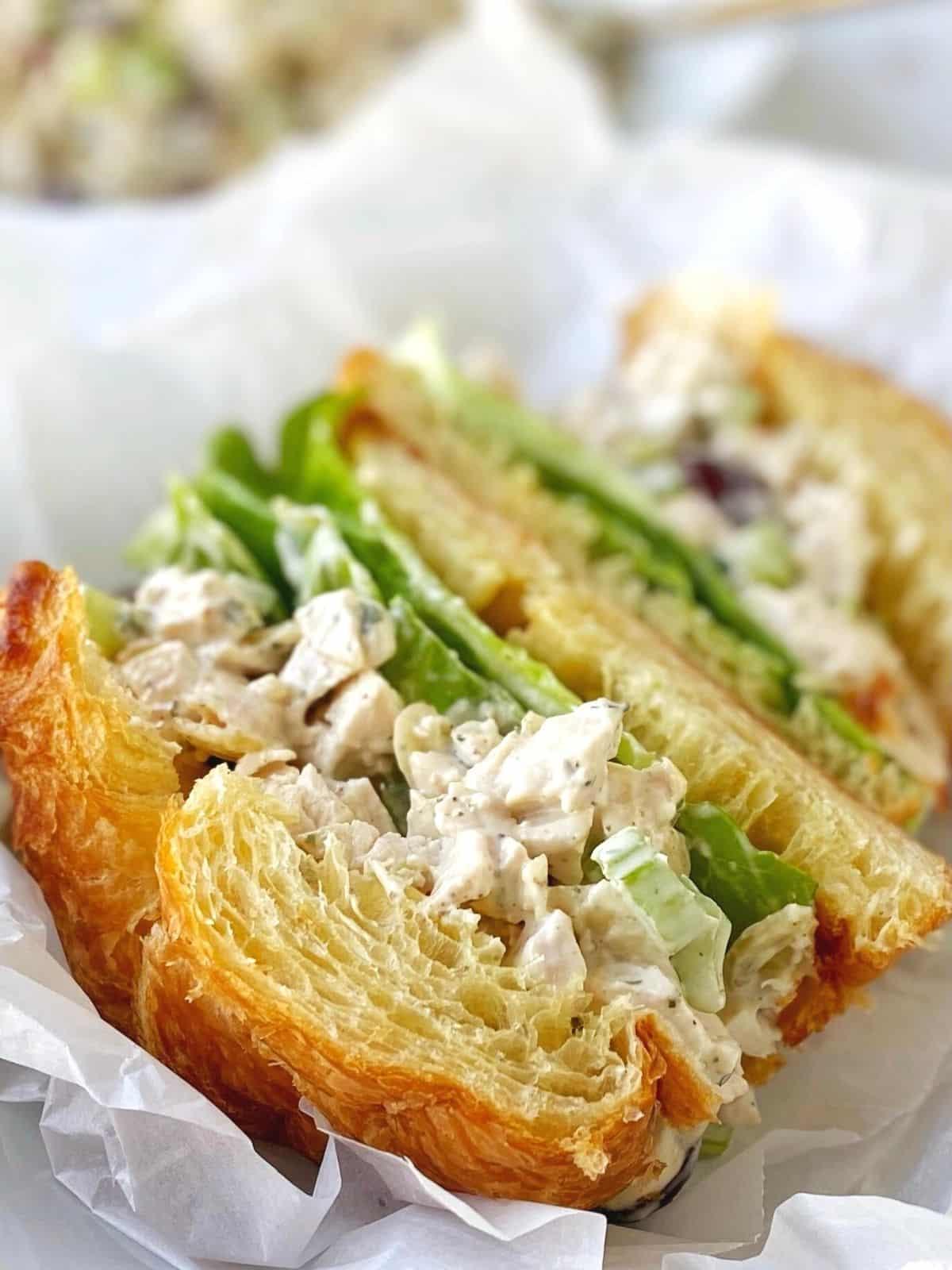 close up of croissant sandwich