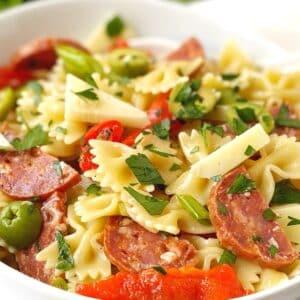 close up of bowl of pasta salad