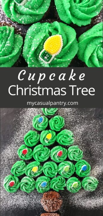 mini cupcakes, frosted green, and decorated in the shape of a Christmas tree