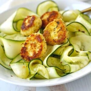 ribbons of zucchini with warm goat cheese