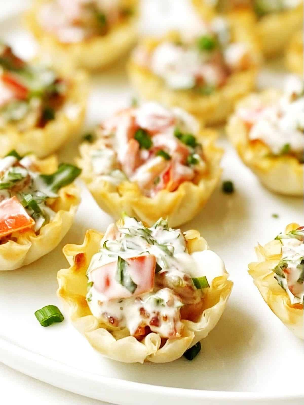 close up of BLT cups on a serving plate