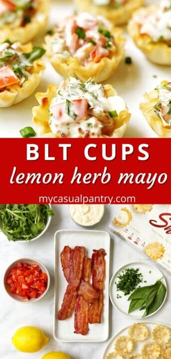 phyllo tarts on a plate and an array of ingredients - phyllo shells, bacon, arugula, tomatoes, mayo, herbs, lemon juice