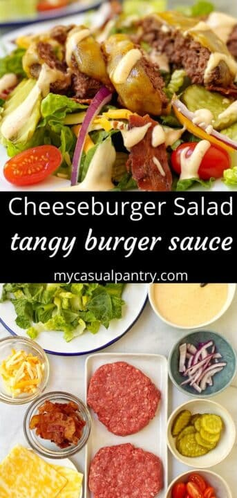 plate of burger salad and array of salad ingredients